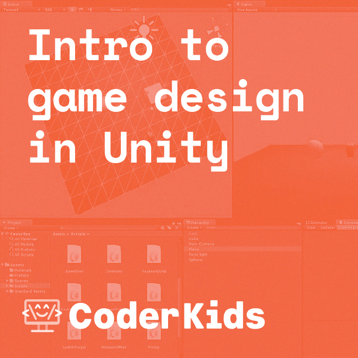 red logo that says intro to game desing in Unity  Coder Kids in white writing