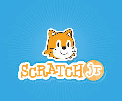 blue background with scratch jr logo with cat above writing that says scratch jr