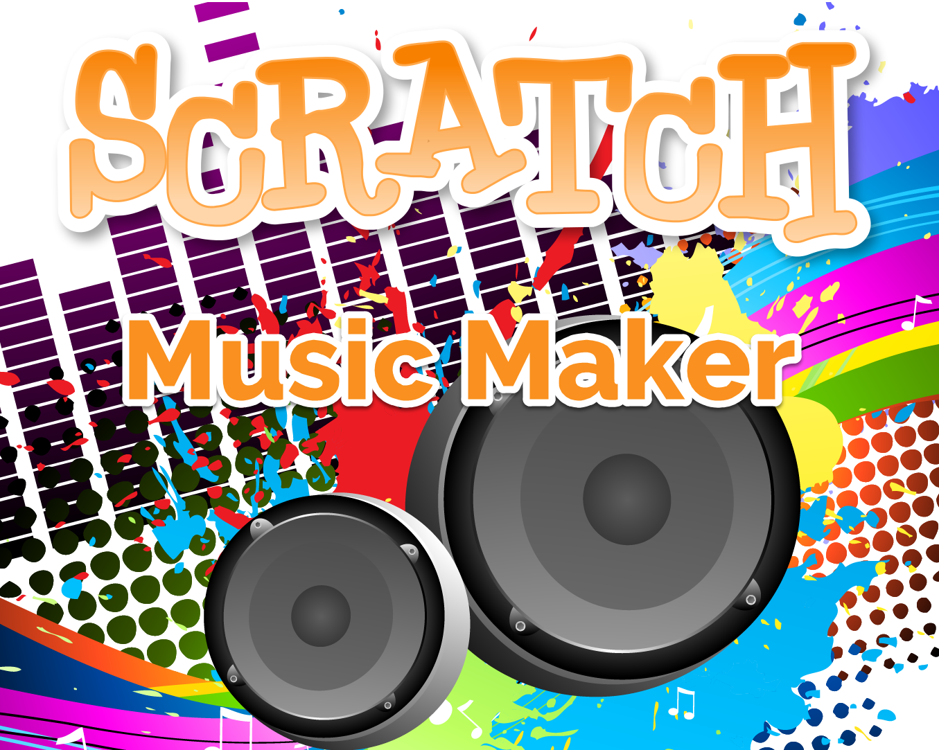 stereo speakers, colorful digital music displays in background, scratach music maker written in yellow orange