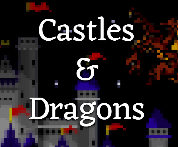 castle in background with Castles & Dragons written in white