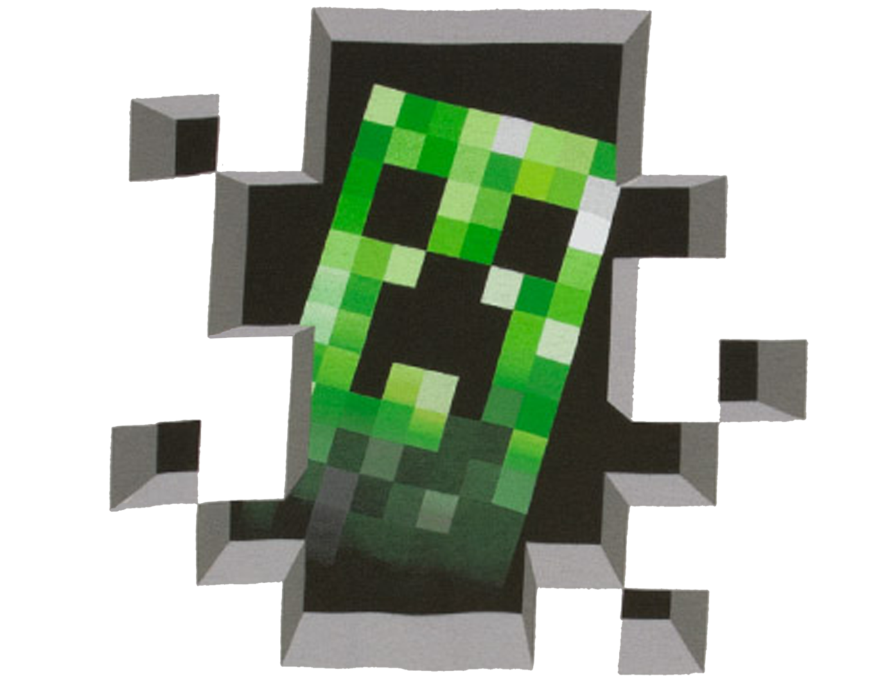 Green Minecraft creeper looking through a wall opening