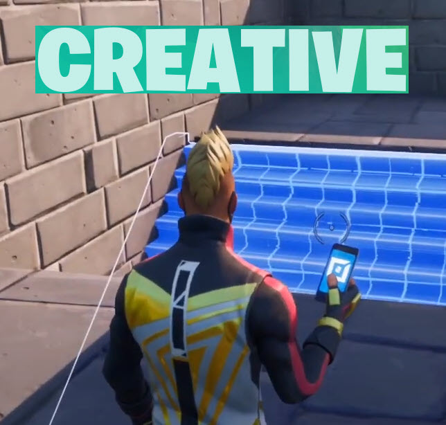 a fortnite character standing with the word creative at the top of the icon