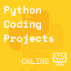 yellow square with transparent python logo in back, Coder Kids icon