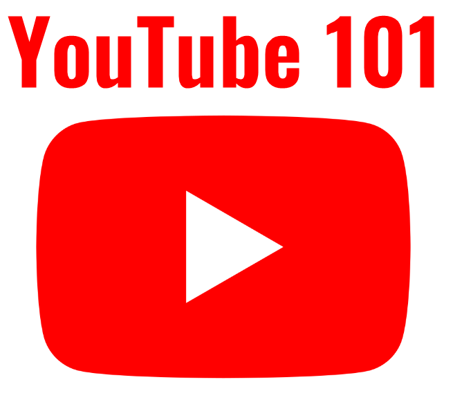 youtube 101 written in red above youtube icon, red rectangle with a white triangle pointing right in the center